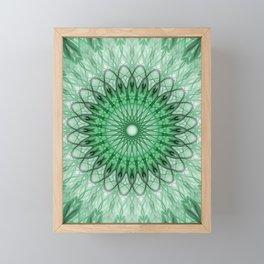 Delicate green mandala Framed Mini Art Print