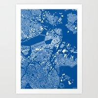 boston map Art Prints featuring Boston map by Maps Factory