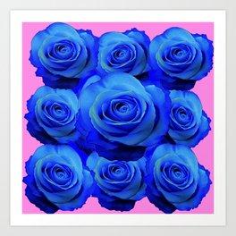 BLUE ROSE GARDEN & PINK PATTERN ART Art Print