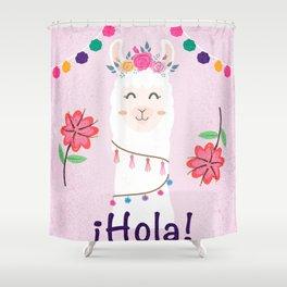 ¡Hola! Cute Pink Alpaca - Boho Llama Illustration Shower Curtain