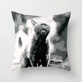 british shorthair cat ready to attack vector art black white Throw Pillow