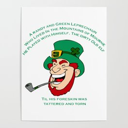 A Randy And Green Leprechaun St Patrick's Day Limerick Poster