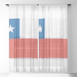 Flag of Chile.  The slit in the paper with shadows. Sheer Curtain