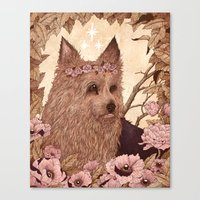 yorkie Canvas Prints featuring Yorkie by Angela Rizza