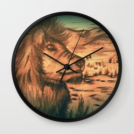 King of the jungle - Dusk Wall Clock