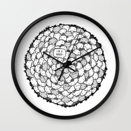 Im a Ninja in a fluffy world! – B/w Wall Clock