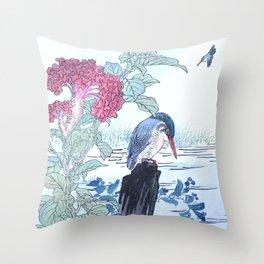 Kono Bairei - Kingfishers And Cockscomb Flowers - Vintage Japanese Woodblock Print Art  Throw Pillow