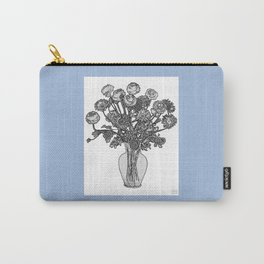 Spring Flowers in Vase on Robin's Egg Blue Background Carry-All Pouch