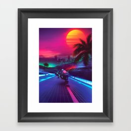 Synthwave Midnight Outrun Framed Art Print