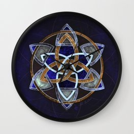 Golden Triskelion Mandala Wall Clock