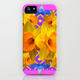 Blue-Pink Golden Daffodils Purple Art Garden iPhone Case