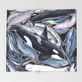 Dolphin, orca, beluga, narwhal & cie Throw Blanket