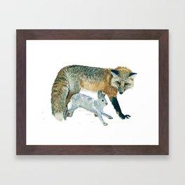 Fox and Hare Framed Art Print