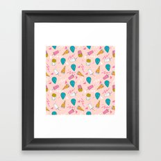 Alien outer space cute aliens french fries rad sodas pattern print pink Framed Art Print