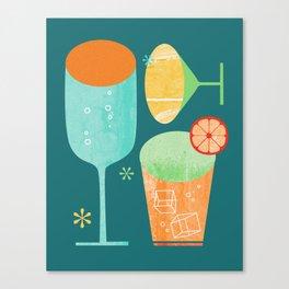 Pour & Drink (Blue) Kitchen or Bar Art Canvas Print
