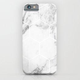 White marble hexagonal beehive iPhone Case