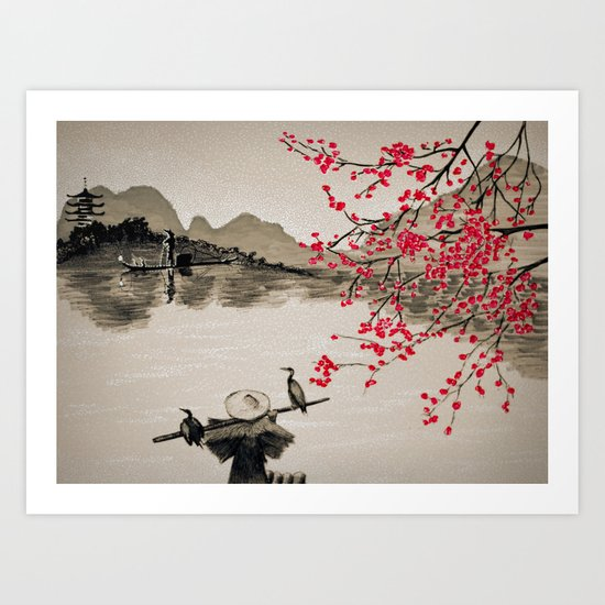 Japan Crane Fishing Art Print