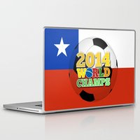 chile Laptop & iPad Skins featuring 2014 World Champs Ball - Chile by crouchingpixel