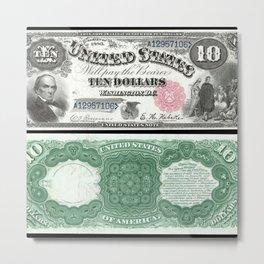 1880 Series U.S. Federal Reserve Ten Dollar Indian Princess Pocahontas being present to the royal E Metal Print