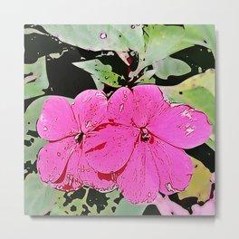 pink Impatiens - flower Metal Print