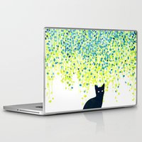 budi Laptop & iPad Skins featuring Cat in the garden under willow tree by Picomodi