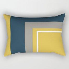 Half Frame Minimalist Pattern 3 in Deep Mustard Yellow, Navy Blue, Grey, and White. Rectangular Pillow