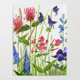 Garden Flowers Botanical Floral Watercolor on Paper Poster