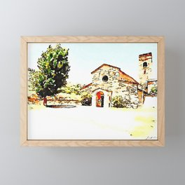 Pieve di Tho: church and tree Framed Mini Art Print