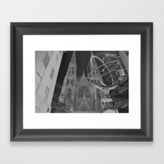 Atlas Statue Black and White Framed Art Print