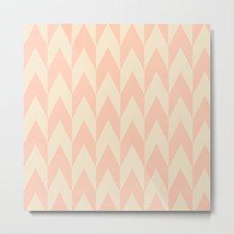 Vintage Pink Uneven Chevron Pattern Metal Print