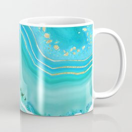 Soft Aqua Marine Gold Agate Glam #1 #gem #decor #art #society6 Coffee Mug
