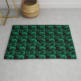 Bright mirror fragments of light blue rhombs and black strict triangles. Rug