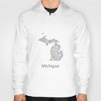 michigan Hoodies featuring Michigan map by David Zydd