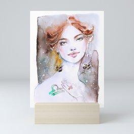 Libra girl Zodiac Watercolor Illustration Mini Art Print