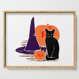 Witch Cat Pumpkin Woodcut Halloween Design Serving Tray