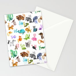Cute Watercolor Animal Alphabet Pattern Stationery Cards