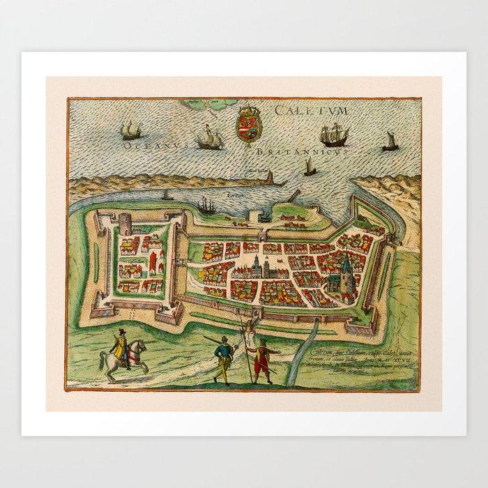 Map Of Calais 1649 Kunstdrucke