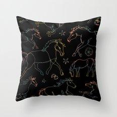 Galloping Horses, Rainbow Gradient on Black Throw Pillow