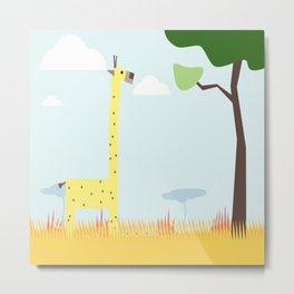 giraffe safari steppe africa Metal Print