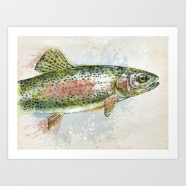 Splashing Rainbow Trout Art Print