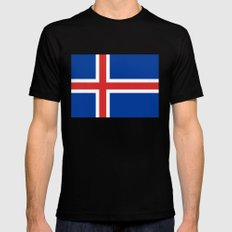 National flag of Iceland Mens Fitted Tee MEDIUM Black