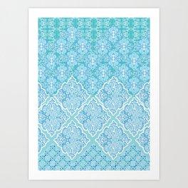 Aqua Damask Wave Art Print