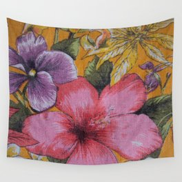 Vintage Tropical Flowers Table Cloth Wall Tapestry