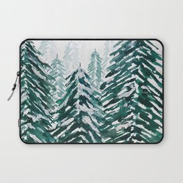 snowy pine forest in green Laptop Sleeve
