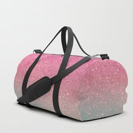 Modern neon pink teal faux glitter ombre patern Duffle Bag