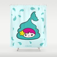 poop Shower Curtains featuring Mermaid Poo by CindyMakes