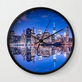 New York skyline at night Wall Clock