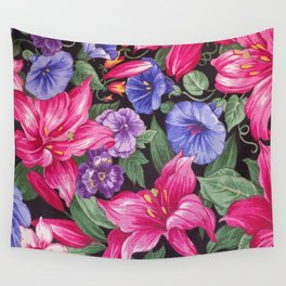 Large Pink and Purple Flowers with Green Leaves Wall Tapestry