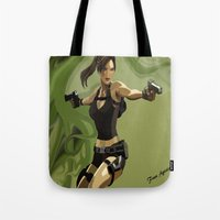 lara croft Tote Bags featuring Lara Croft by Fran Agostinelli