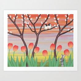 chickadees, pussy willow, & tulips Art Print